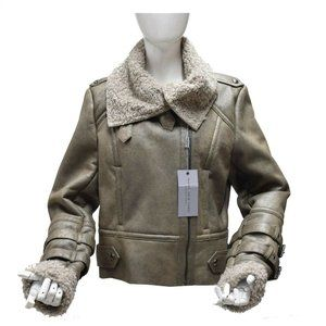 Andrew Marc Women's Taupe Leather Shearling Bomber